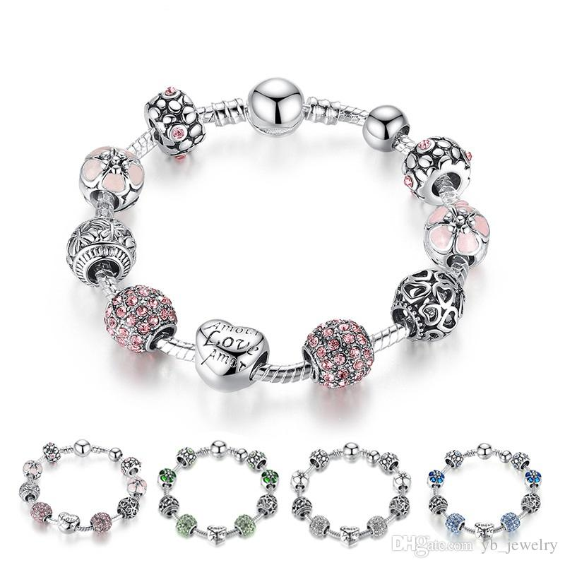 Estilo caliente Fino Cuentas de plata tibetana Pulsera Pandora Encantos Perlas de vidrio Bricolaje cuentas moldeadas pulsera Rosa Blanco Azul Verde es Opcional