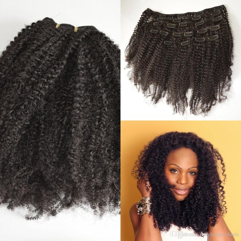 4b4c Kinky Curly Clip In Human Hair Extensions 120g Natural Black