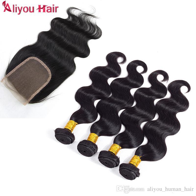 Nouvelle Arrivée Brésilienne Vague de Corps Cheveux Humains Tisse Extensions 4 Faisceaux avec Fermeture Couleur Naturelle Libre Partie Milieu Double Trame Dyeable