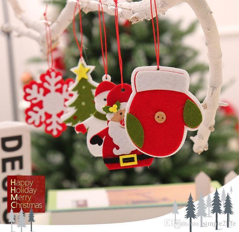 new year christmas tree decorations felt bird heart star hanging