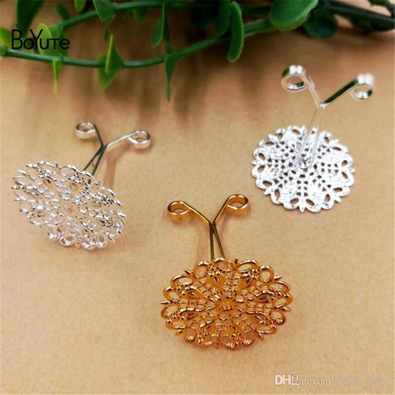 BoYuTe Metal Brass Filigree Flower Hair Clip Setting Diy Hand Made Jewelry Accessories