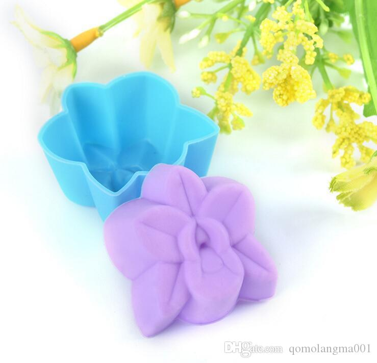 Hot Sale DIY Silicon Orchid Flower Shape Cake Mold 5cm Size Muffin Chocolate Cupcake Baking Cup Mold