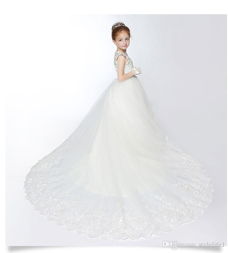Großhandel Kinder Kleider Für Mädchen Hochzeitskleid Weiße Farbe ...