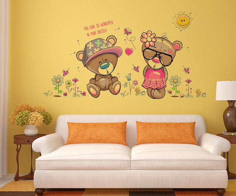 removable cute couple bear wall stickers art decal wall post nursery