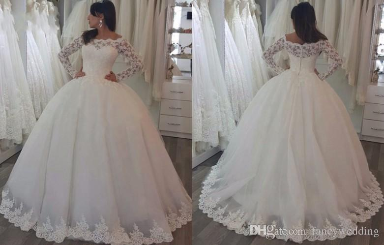 White jewel long sleeves lace applique tulle ball gown wedding