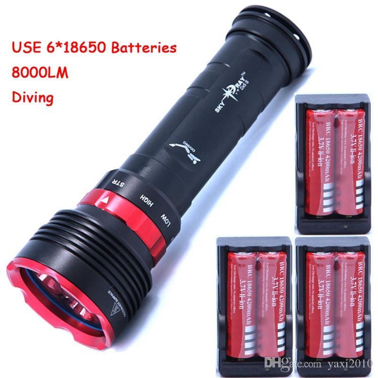 Underwater 8000lm Diving Flashlight 5 x Cree XM-L2 LED Torch Light Waterproof Brightness Lamp LED Lantern + 6*batteries + Charger
