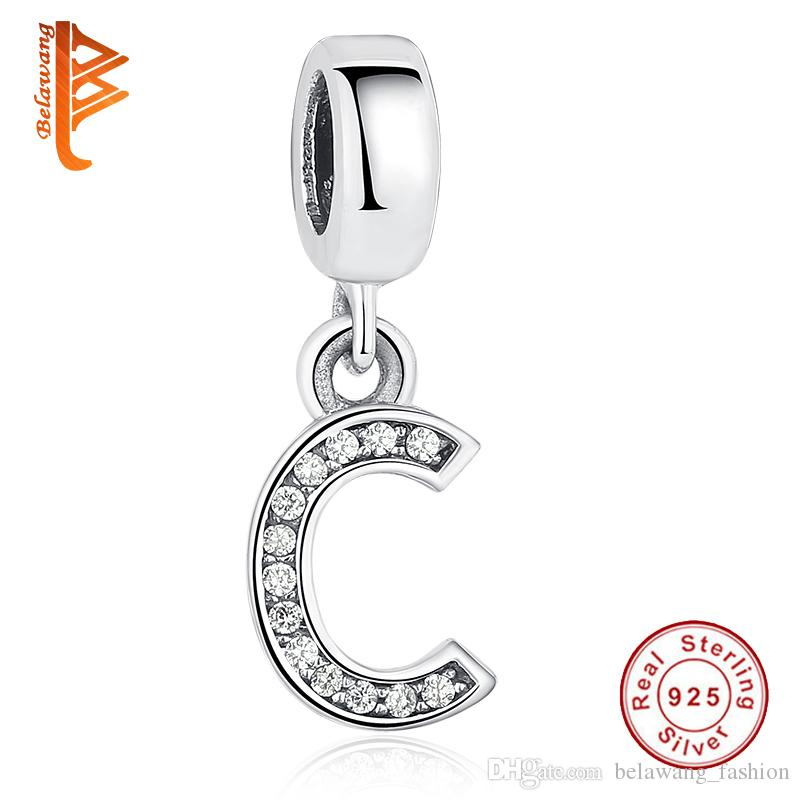 bca3ecaf3 BELAWANG 100% 925 Sterling Silver Alphabet Letter A-Z Crystal Charm ...