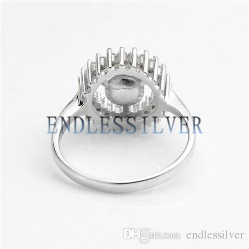 Dazzling Zircon Round Shape Ring Settings 925 Sterling Silver DIY Jewellery Finding Mountings for Pearl Party