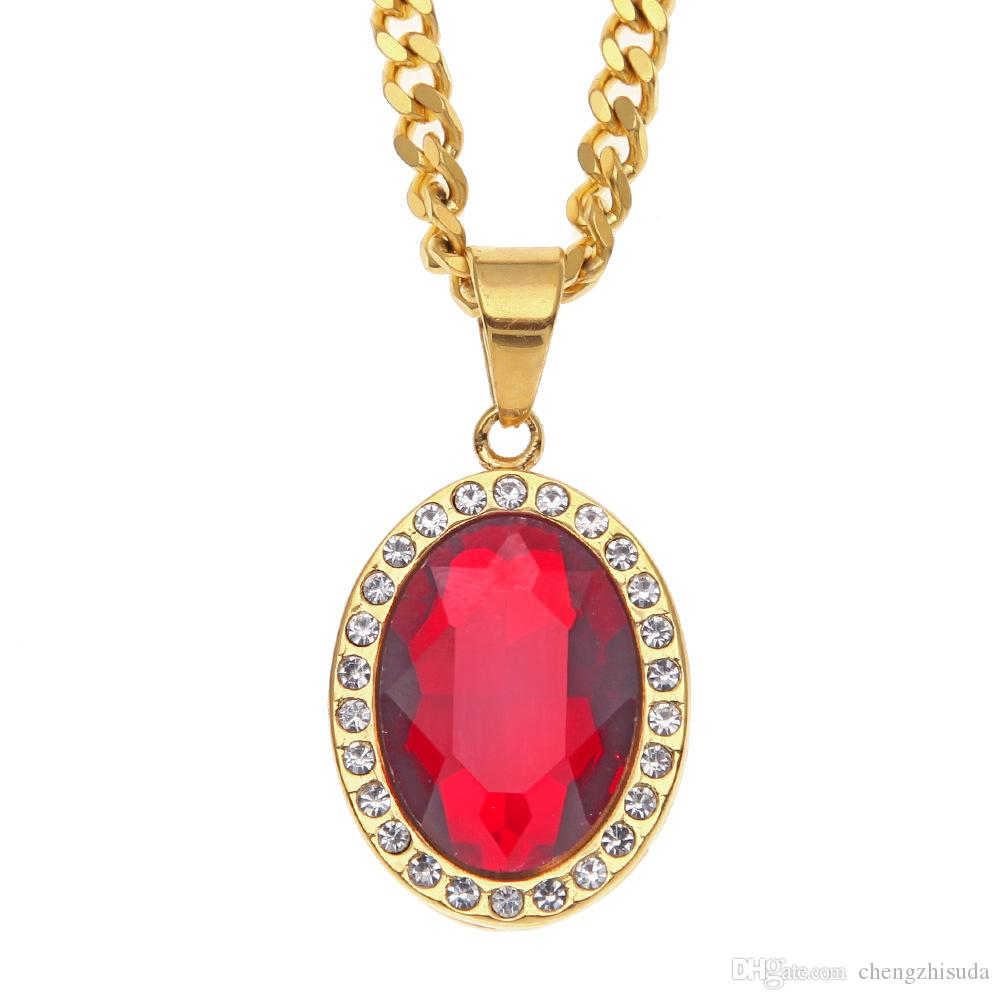 Wholesale mens gold iced out oval red stone pendant with 5mm 70cm wholesale mens gold iced out oval red stone pendant with 5mm 70cm cuban link chain necklace hip hop pendant necklace rose gold pendant necklace silver aloadofball Gallery