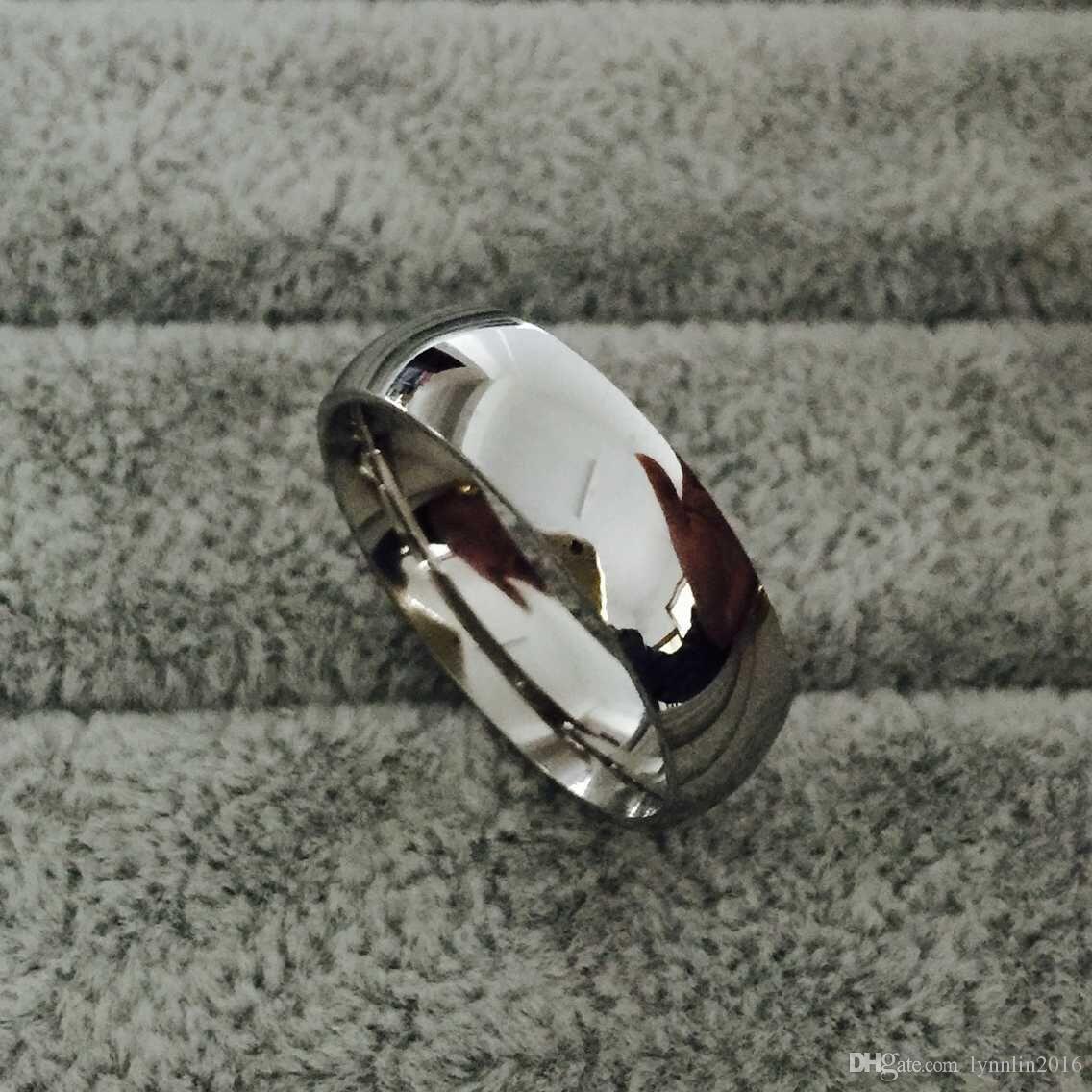 Classico maschio reale argento 18 carati in oro bianco placcato oro 8mm in acciaio in titanio donne uomini anello di nozze di alta qualità non sbiadisce amanti gioielli da sposa