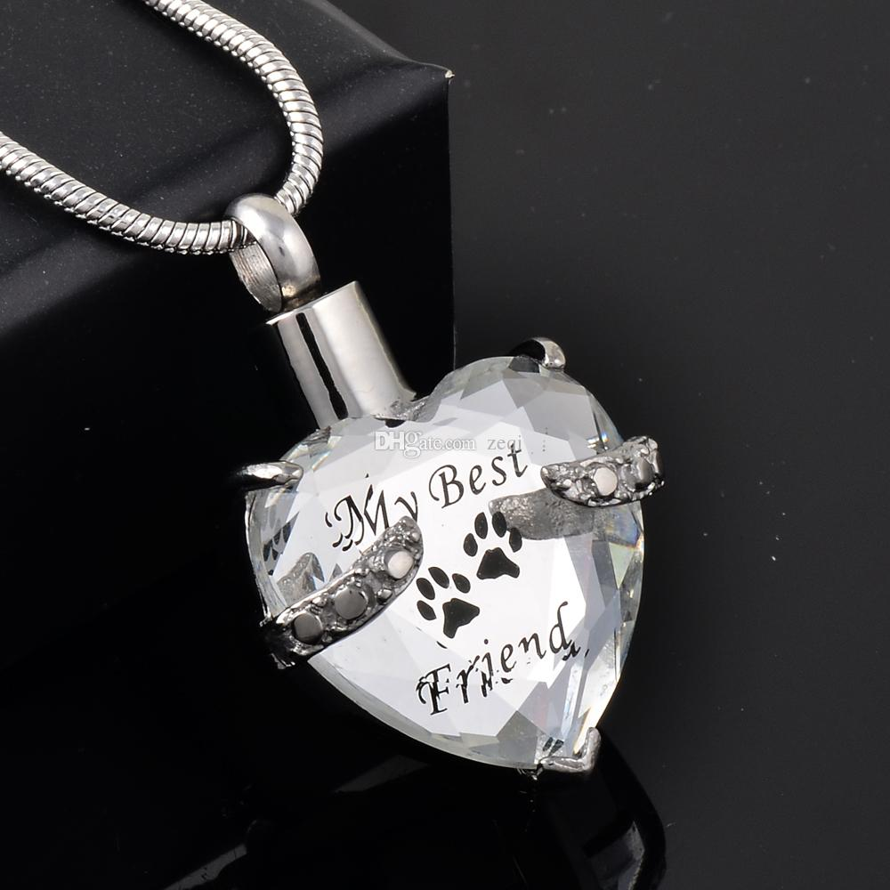 Paw Print Cremation Urn Pendant Pet Dogs Cats Ashes Holder Stainless Steel Memorial Ash Keepsake Pendant Necklace Individualized