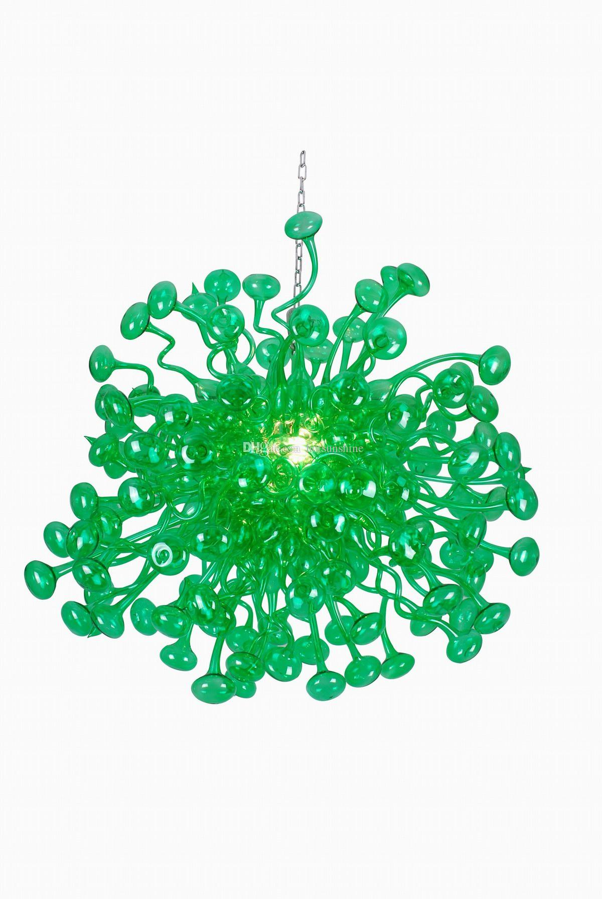 100% Blown Glass Chandelier Modern Green Colored Free Shipping Fashion Crystal Ceiling Led Modern Living Dining