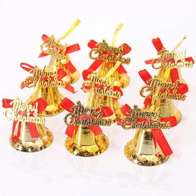 a bag christmas bell ornaments gold merry christmas letter jingle bells xmas tree hanging decoration for home navidad home decorations christmas home - Christmas Bells Decorations