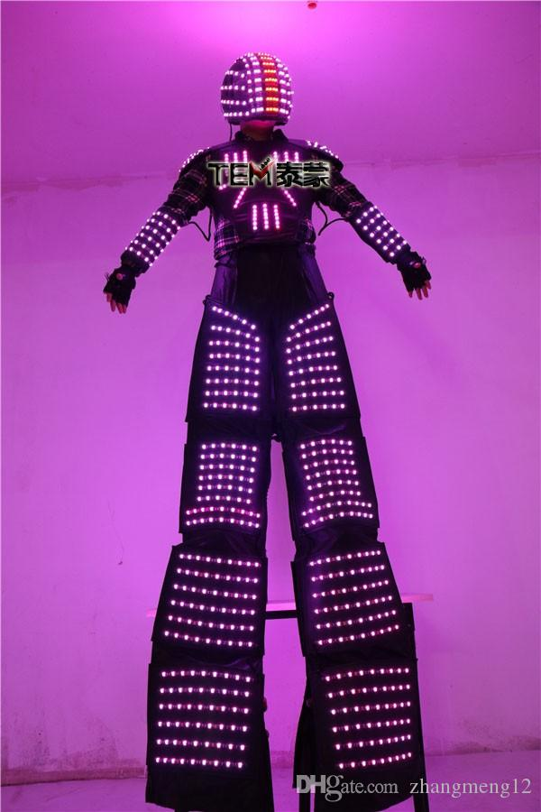 Abiti A LED Luminoso Robot Costume David Guetta LED Robot vestito illuminato Kryoman Robot LED trampoli vestiti