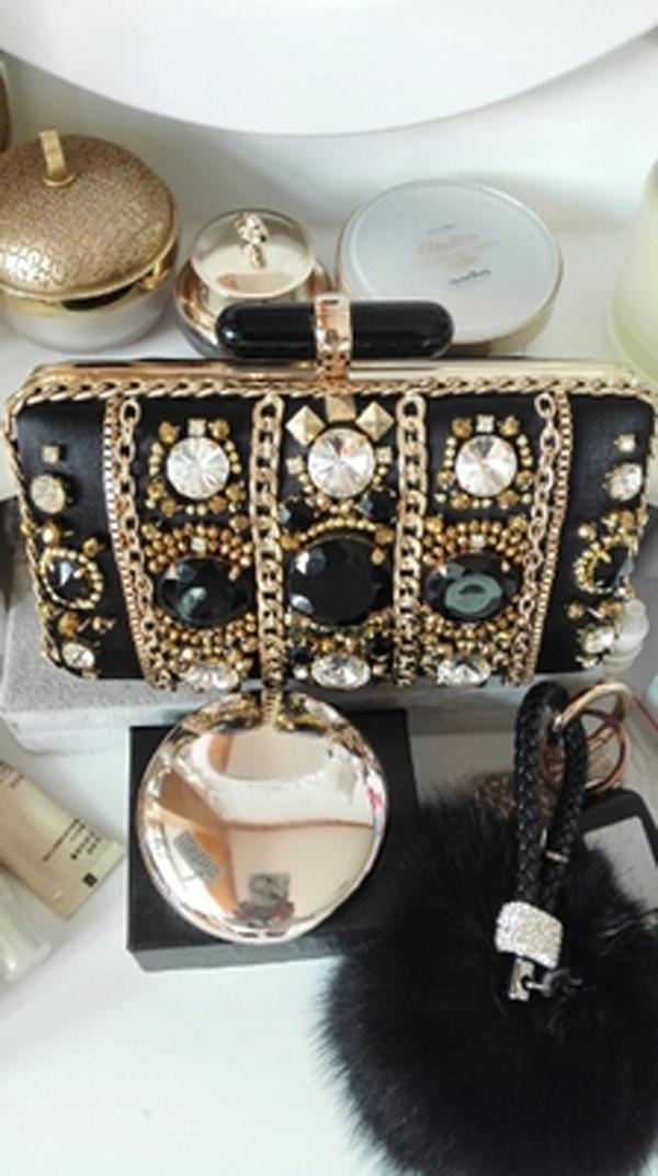 2016 Date De Mode Sacs De Soirée De Luxe Cristaux Perlés Pierre Noir Attrayant Sac À Main Sac À Bandoulière Sacs D'embrayage De Haute Qualité
