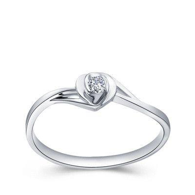 Anillos de compromiso de diamantes naturales de oro sólido certificado para mujeres 0.10ct Cut red redondo Si G-H Good 14k blanco oro blanco forma de corazón al por mayor xtr1022