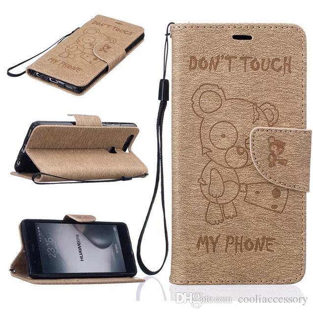 Bande Dessinée Ours Portefeuille En Cuir Pochette Pour Huawei P10 P9 L3 Y5 Y5 Y6 II Honneur 5A LG K7 K8 2017 K10 Sangle Stand Ne touchez pas mon téléphone Couverture