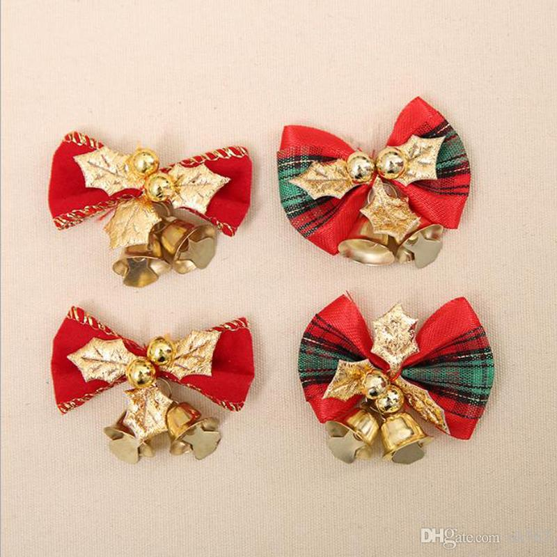 christmas tree bow christmas ornaments bell diy home garden bows christmaswedding party decoration festiveparty supplies cheap christmas decorations cheap - Christmas Decorations Bows