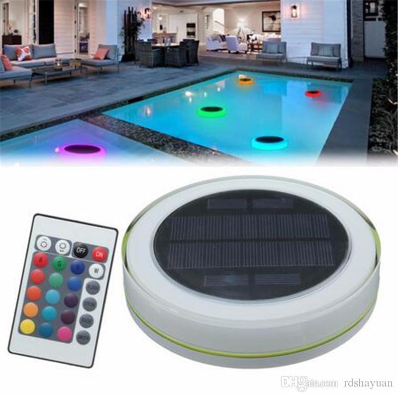 RGB LED ضوء تحت الماء الطاقة الشمسية بركة سباحة العائمة للماء في الهواء الطلق الصمام الخفيفة مع جهاز التحكم عن بعد جديد