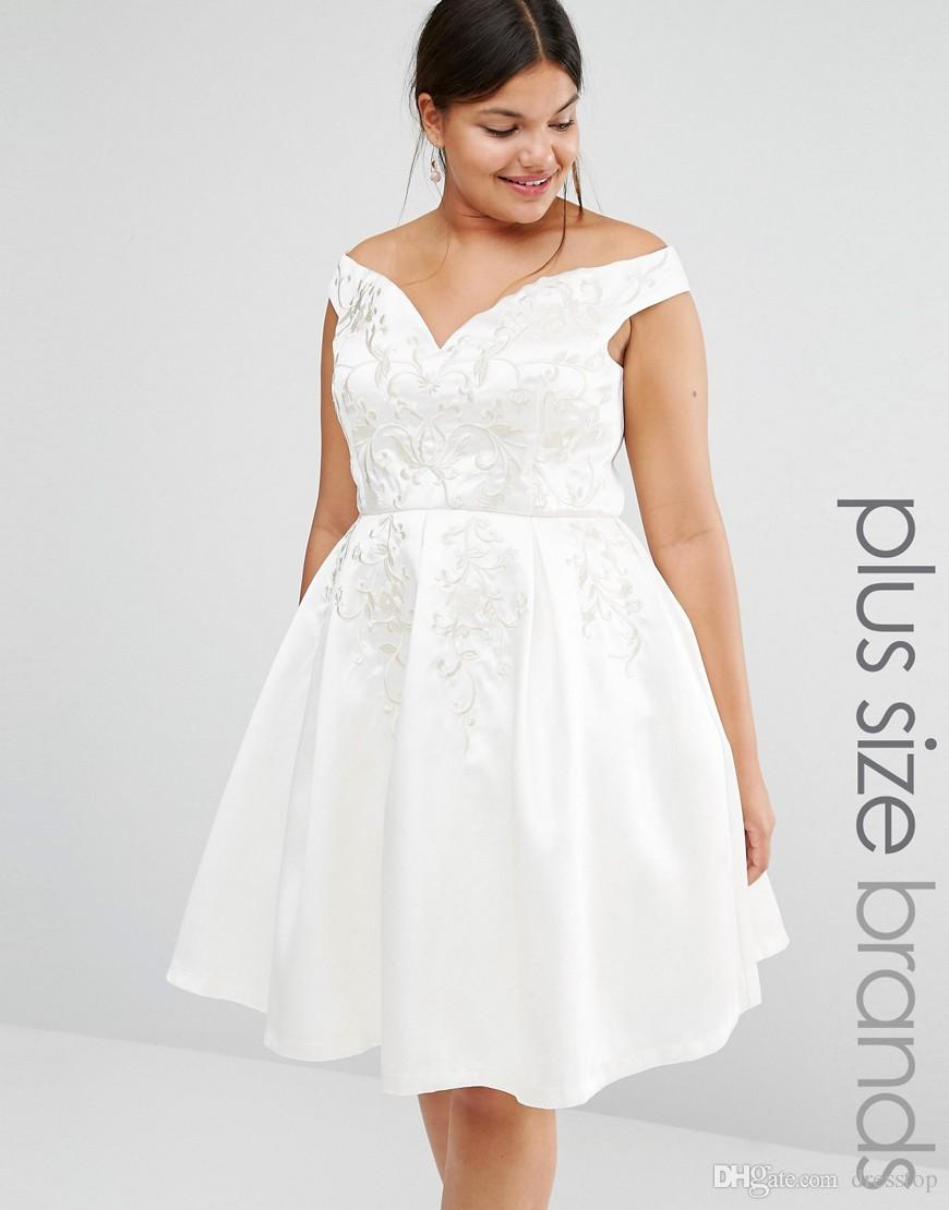 Charming Plus Size Short Prom Dresses Off The Shoulder A Line Embroidered  Special Occasion Dress Knee Length Satin Evening Gowns Plus Size Dress ...