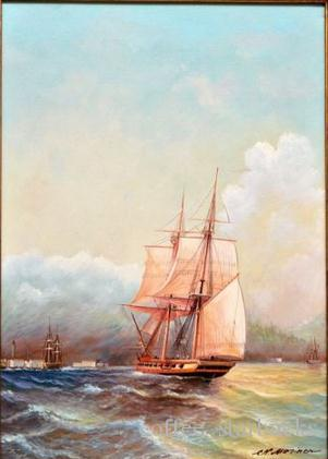 OLD SAILING WARSHIP ARRIVES TO HARBOR SEASCAPE BAROQUE,Pure Hand-painted Art oil painting On Canvas in any size customized