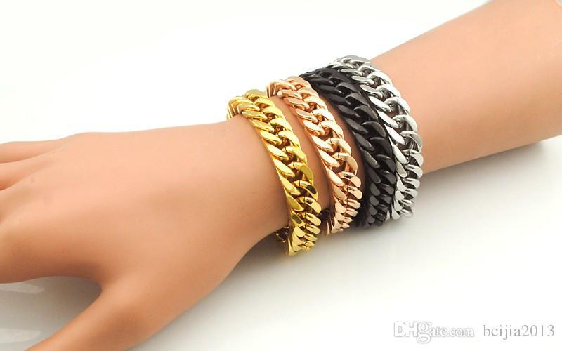 Guldpläterad Rostfritt stål Charm Armband Curb Cuban Chain Mens Smycken 8,7