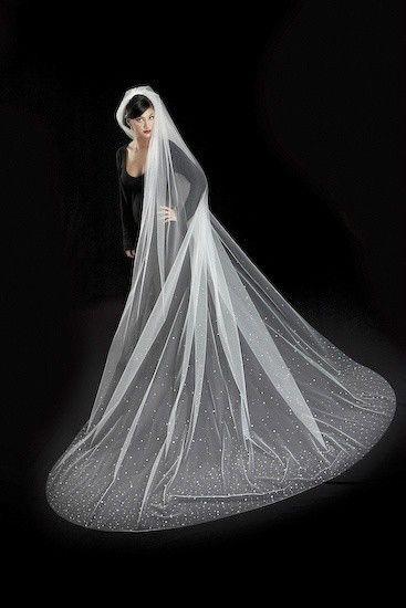 One Layer Wedding Veils With Beading Chapel Length Ivory/White ...