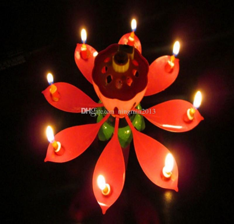 2019 Lotus Candles Birthday Candle Music Party Decoration New Flower Double Layered Rotating Sound Cake Topper