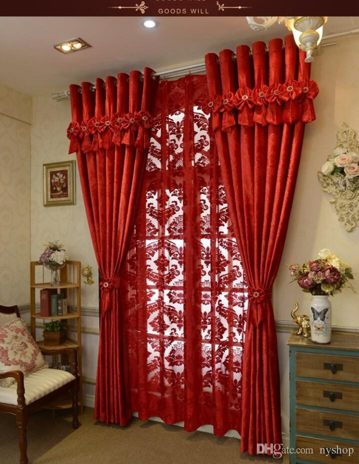2019 2016 Brand New Custom Made Luxury Italian Wool Curtain Living Room Red  Curtains Joyous Wedding Eco Friendly Flocked Curtains Wedding Gifts From ...