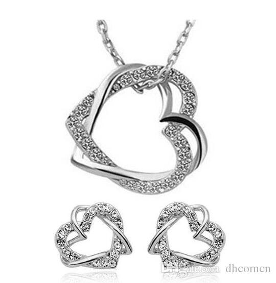 Çift Kalp Tasarım Kristal Kolye ve Küpe Setleri Malzeme Elmas Kalp Kolye Kolye Saplama Küpe Takı Seti
