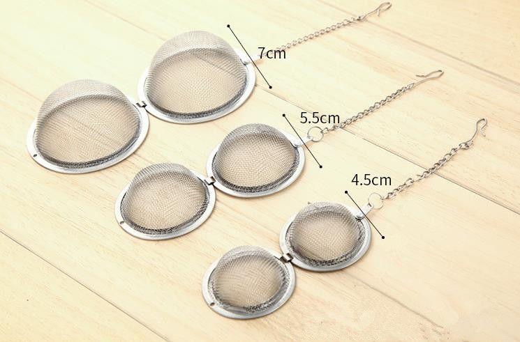 Factory Price!! Stainless Steel tea infuser 4.5cm / 5.5cm / 7cm Tea Pot Infusers Sphere Mesh Tea Strainer Ball