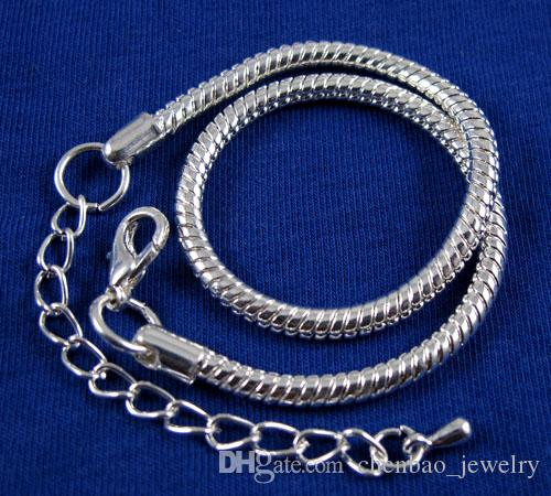 Wholesale Silver Plated Snake Chain Lobster Clasp Charms Bracelet Fit European Style Big Hole Charms Beads