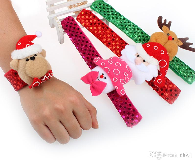 Fashion Christmas Led Wrist Strap Circle Flashing Dots Bracelets Light up Toys Kids Gift Xmas Supplies Decorations