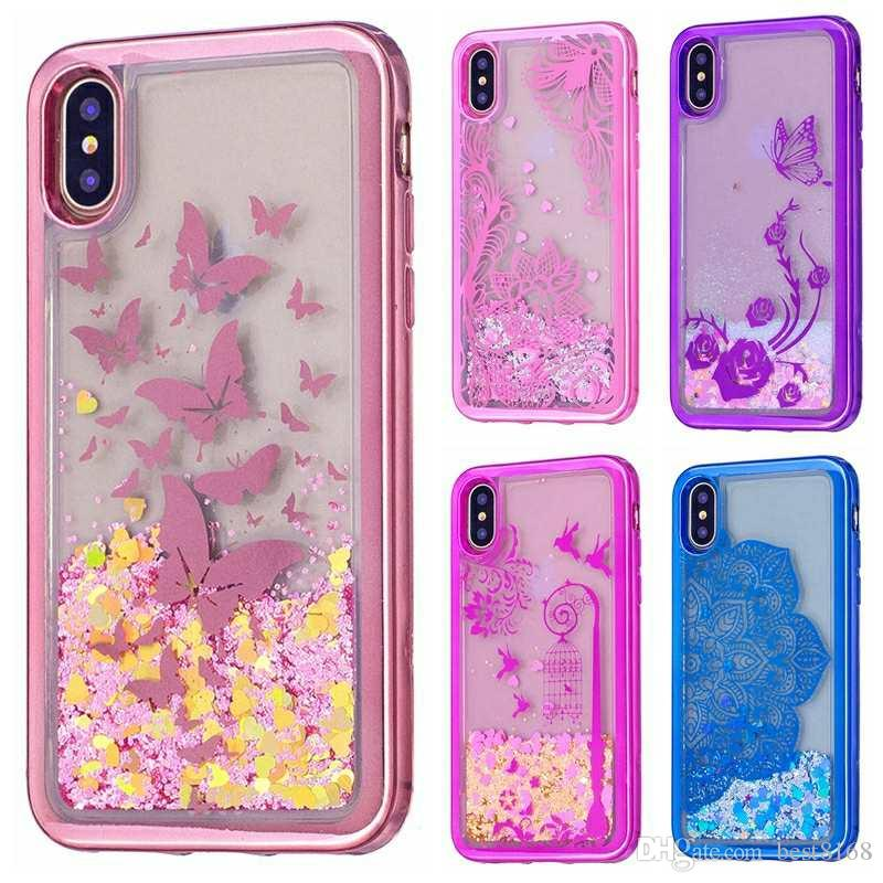pretty nice 46d1d 3a88b Fashion Flower Butterfly Lace Metallic Bling Liquid Soft TPU Case For  Iphone X 8 7 Plus 6 6s Chromed Quicksand Glitter Clear Moving Cover