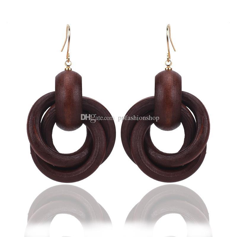 Boucles d'oreilles en bois spirale de la mode des femmes Bague Style Boucles d'oreilles en bois Boucles d'oreilles individuelles Bijoux fantaisie en gros Livraison gratuite