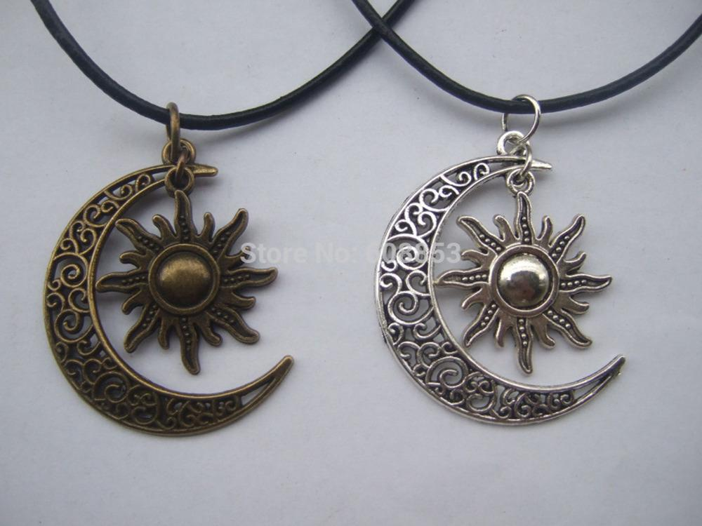 Wholesale wholesale fashion crescent moon and sun charm pendant wholesale wholesale fashion crescent moon and sun charm pendant black leather boho colar hippie necklace 18 26 pendants for necklace pendant from mozeypictures Image collections
