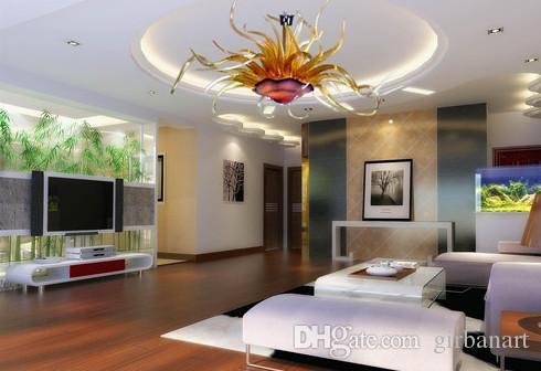 Murano flor lâmpadas lâmpadas candelabros sala de estar luzes moderna mão soprada arte lustre de arte