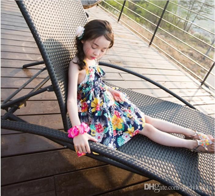 2016 New Arrival Big Girl Summer Princess Dress Children Floral Printed Sleeveless Suspender Dresses Fashion Girls Backless Dress 100-150cm