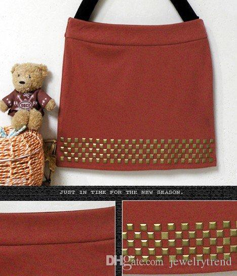 Printemps Automne Mode Femme Mini Jupes Carré Rivets Jupe Courte Rouille Rouge