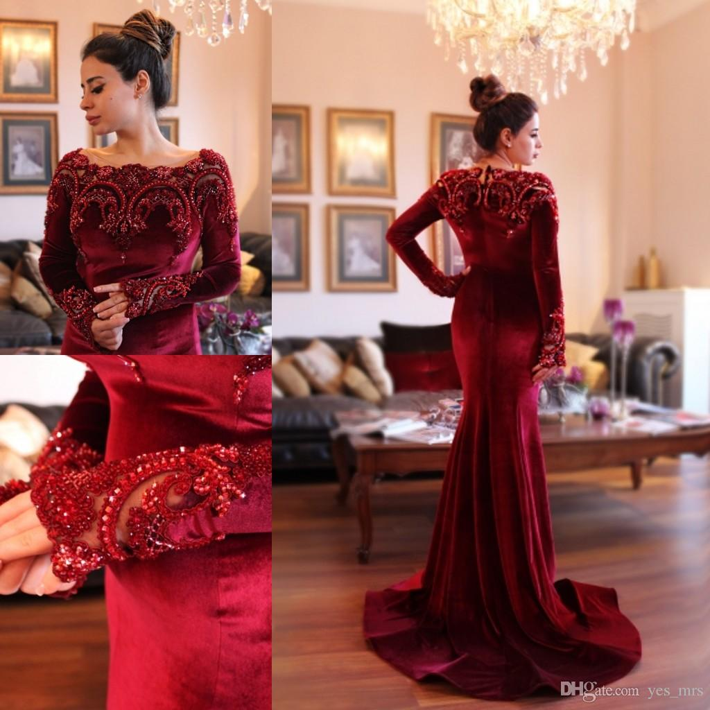 afec45c96e 2018 Arabic Islamic Abaya in Dubai Muslim Evening Dresses Scoop Neck Dark  Red Velvet Lace Crystal Beads Long Sleeve Mermaid Party Prom Gowns