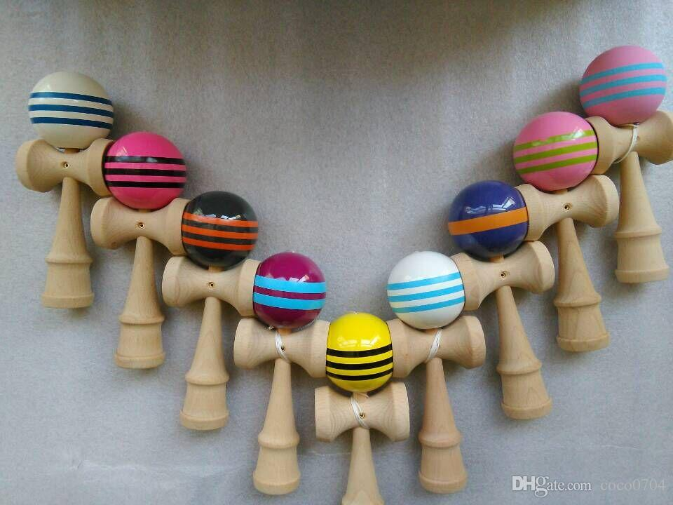 nuevo! 50 unids 25 cm jumbo profesional brillante Kendama Ball japonés tradicional juego de madera para niños juguete PU pintado haya deporte de ocio