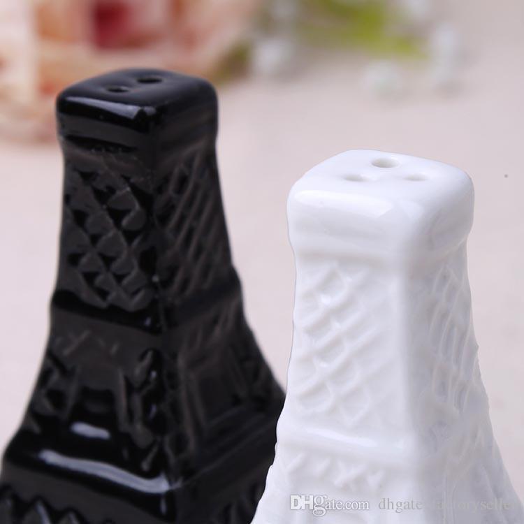 Torre Eiffel Cerámica Salero y pimentero Favores de boda Blanco Negro Porcelana Shakers Herramientas de cocina = 100 unids / lote