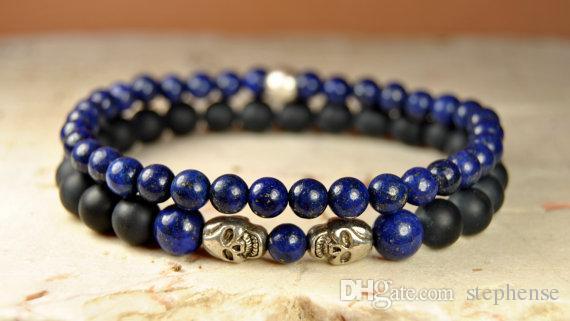 SN0100 High Quality Herren Halbedelstein Perlen Lapislazuli Armband Naturstein 6mm Blue Stone Stretch Armband