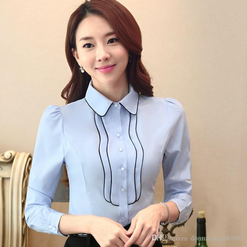 a934c625381 New Arrived Women Blouse Shirts New Formal Work Women Chiffon Blouse Ladies Shirt  Sleeve Slim Fit Female Office Shirts Tops Formal Work Shirts Women Chiffon  ...