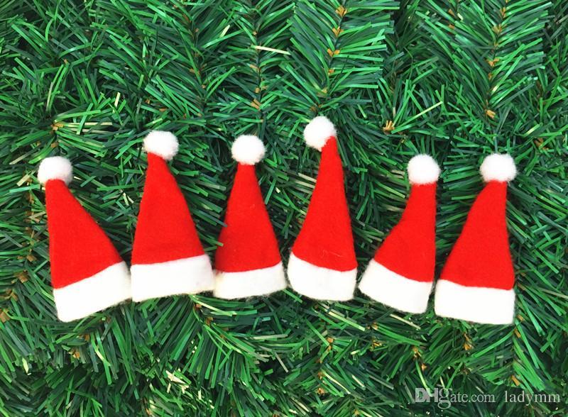 Mini size Christmas Hats 4*7cm Xmas Mini Red Santa Claus Party Decor Cute Gift Chrismas supplies