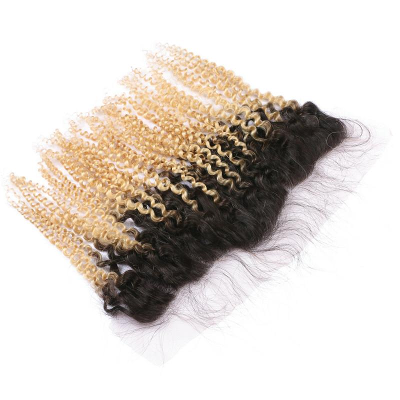 Kinky Curly #1B/613 Dark Root Blonde Ombre 13x4 Full Lace Frontal Closure with 3Bundles Peruvian Ombre Virgin Human Hair Weaves