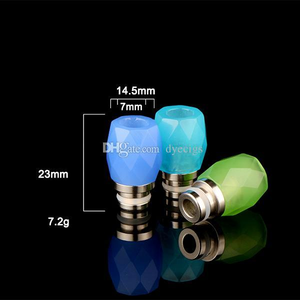 Colorful Rhombus Glass Drip Tips Stainless Steel 510 Diamond Glass Drip Tip Wide Bore MouthPiece Fit 510 Atomizers DHL Free