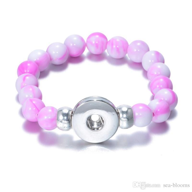 10 Styles Snap Bouton Pierre Naturelle Perles Bracelet Bracelets Fit 18mm Ginger Snap Bouton DIY Noosa Charme Bijoux Valentine Cadeau B826L