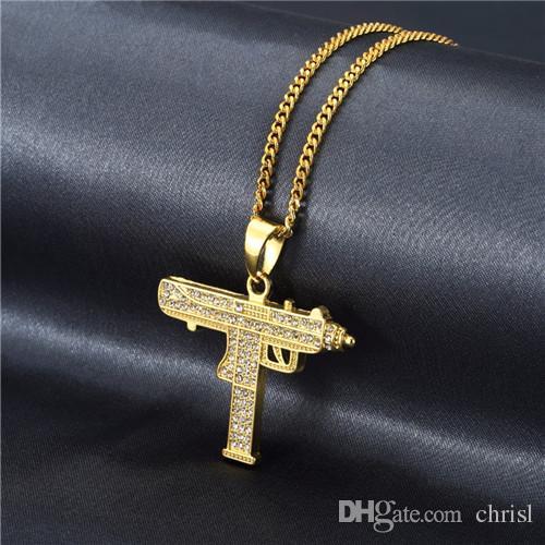 New CZ Stone Assault Gun collana pendente con piccola catena cubana Pistol Machine Pendant Necklace Hip Hop Gioielli Uomo Donna