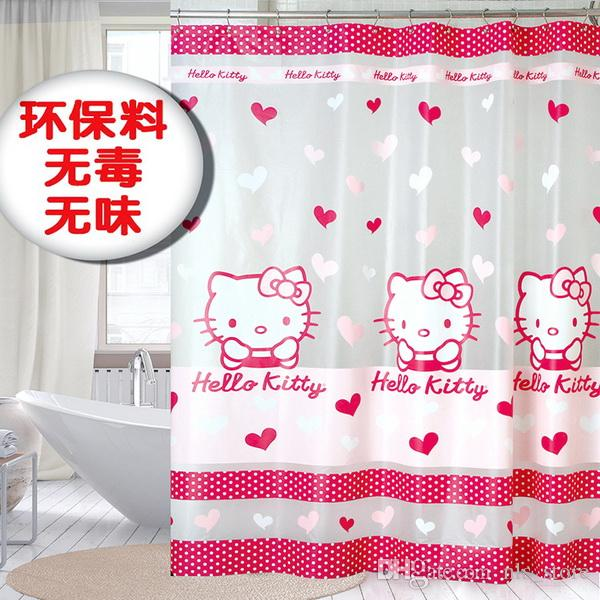 Plastic PEVA LOVELY Cute Kitty Frosted Red Colour For Girls Waterproof  Shower Curtains Bathroom Shower Curtains Hello Curtain 180X180CM Pink  Shower Curtain ...